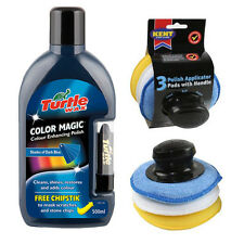 TURTLE WAX BLUE COLOUR MAGIC RESTORER CAR POLISH CHIPSTICK + APPLICATOR PAD SET