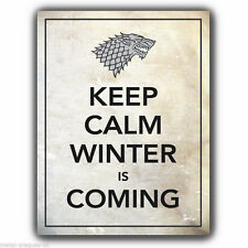 "METAL SIGN WALL PLAQUE Game of Thrones ""KEEP CALM WINTER IS COMING"" poster"
