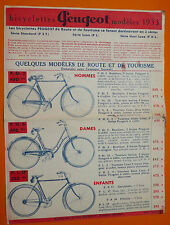 PUBLICITE CATALOGUE BICYCLETTES PEUGEOT 1933 VELO CYCLISME PST PL PHL COURSE