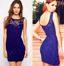 Gorgeous Lipsy Blue Lace Sequin Low Back Bodycon Size 12 Mini Dress Party Club