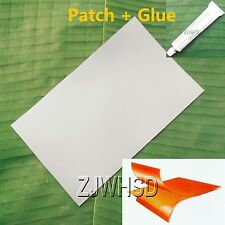 "9.4""x14"" Gray PVC Patch + Glue for Inflatable Boat Kayak Raft Bouncer Water Toy"