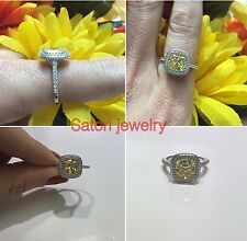 Platinum Sterling Silver Yellow & White Sapphire Cushion Cut Halo Ring Gift