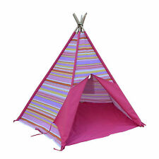 BNIB Kids Teepee Pink Candy Canvas Tent Cubby House Tipi Play Tent Outdoor Toy