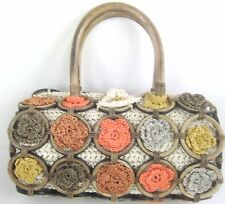 Vintage Boho Chick Granny Square Straw Crochet Bamboo Purse Bag Handbag Retro