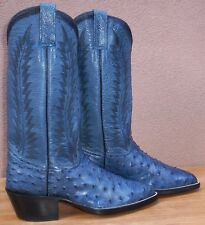 Custom Hand Made, Genuine Full Skin Ostrich Quill Skin Cowboy Boots, Size (7 B)