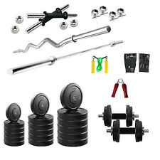 "FITFLY 40 Kg Efficient Home Gym Set,5Ft Plain,3Ft Curl Rod,14""Dumbbells,Gloves"