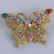 Lady Colorful Crystal Butterfly Gold Plated Charms Rhinestone Brooch Pin Jewelry