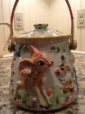 Antique porcelain /china  cookie jar with wooden handle