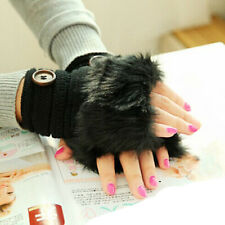 Women Warm Winter Faux Rabbit Fur Wrist Fingerless Gloves Mittens Black