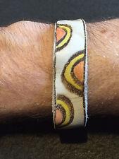 Pyrograved soft leather bracelet.  8 inch long