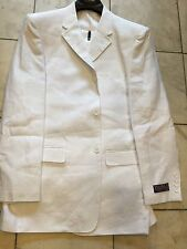 NEW INSERCH MENS 100% LINEN WHITE 3BT. SUIT LINED  BEACH WEDDING SIZE 40R