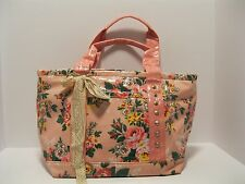 Purse Large Tote Pink Floral Gold Studs Lace Ribbon Water Proof Vinyl NWT L304