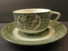 "Cup & Saucer Quil & Ink  ""Old Curiosity Shop"" Pattern Royal China Green On White"