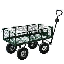 Steel Cart Yard Garden Utility Wagon Dump Lawn Heavy Duty Wheelbarrow Trailer