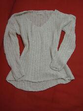 Abercrombie & Fitch Women Sweater Sz L Shine White Silver Savannah  V - Neck