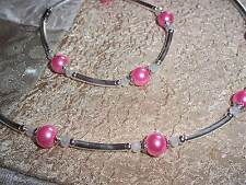 19 in MAGNETIC Clasp Pink PEARL & White CRYSTAL Bead Necklace Bracelet SET N-43