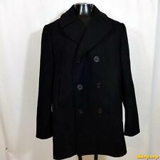 1975 Vtg Vietnam US Navy Wool Overcoat Pea Jacket Coat Peacoat Mens 40L 40 Black