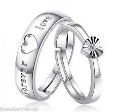 2 pcs Wedding Engagement Silver Plated Engraved Forever Love Ring Set Adjustable