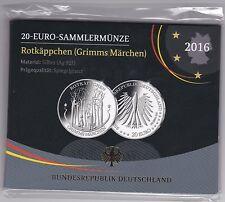 BRD 20 Euro 2016 A Rotkäppchen - Silber 925 - Spiegelglanz PP