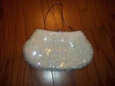 Vintage Beaded White Evening Bag/ Clutch Made In Crown Colony of Hong Kong