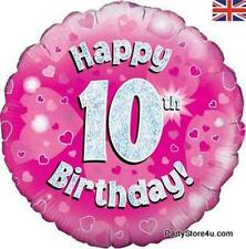"""18"""" PINK HOLOGRAPHIC FOIL BALLOON """"HAPPY 10TH BIRTHDAY"""" CELEBRATION PARTY"""