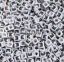 Letter E - 100pc 7mm Alphabet Beads White with Glossy Black Letters