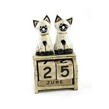 FAIR TRADE Hand Carved Wooden Sitting Cat Perpetual Calendar Shabby Chic