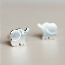 1 Pair Women Lovely Elephant Earrings Cute Animal Silver Ear Studs Jewelry