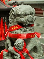 MODERN PHOTOGRAPHY CULTURAL LANDSCAPE CHINESE LION STATUE FOO DOG POSTER BB3142A