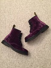 Dr Martens Castel Boots Women's Size 11 Purple Velvet Docs