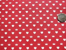 Princess Hearts and Crowns on red fabric 1 metre x 112 cm 100% Cotton  FF39-1