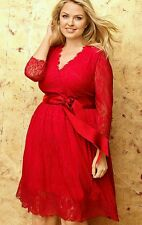 LANE BRYANT WOMEN'S PLUS SIZE RED 7/8 SLEEVE BELTED LACE LINED DRESS Sz 14
