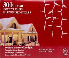 CHRISTMAS 300 CLEAR ICICLE BRIGHT FROSTY LIGHT WHITE WIRE WEDDING NEW