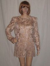 VTG 80's MICRO MINI DRESS tunic SCALLOPED SHEER LACE Champagne LARGE