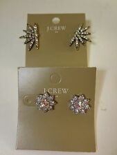 J.Crew Factory Crystal Flower Stud &b Burst Earrings item 63065 NWT $22.50 LOT 2