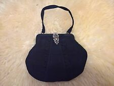BLACK 1920S VINTAGE FABRIC EVENING PURSE (TAFFETTA?) MARCASITE CLASP 7X6 INCHES