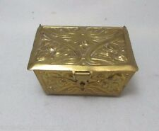 Brass Decorated Trunk THIMBLE HOLDER & THIMBLE; ANTIQUE c1870's