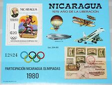 NICARAGUA 1980 Block 111 Rowland Hill Aivation Airplanes Olympics Moscow MNH