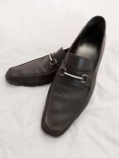 BALLY Switzerland Marano brown leather ribbon horsebit loafers 12D