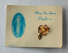 VINTAGE RETRO RELIGIOUS BROOCH ORIGINAL CARD JEWELRY PENDANT 'MARY OUR QUEEN'