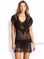 MELISSA ODABASH fringed crochet-knit Dress Coverup Kaftan UK8-10 SZS BNWT