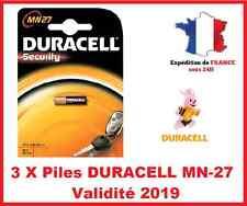 3 Batteries DURACELL MN-27/A27 / LR27 - 12V DLC 2019