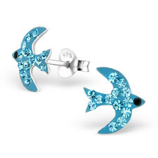 Childrens Kids 925 Sterling Silver Sky Blue Swallow Ear Studs with Crystal-Boxed