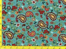 Red Paisleys and Flowers on Light Teal By The Yard CSHPAI04845