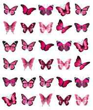30 x Pink Butterflies Cupcake Toppers Edible Wafer Paper Fairy Cake Toppers