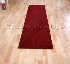 THICK SOFT DARK RED MODERN SWIRL PATTERN LONG RUNNER RUG 60x230cm FREE DELIVERY