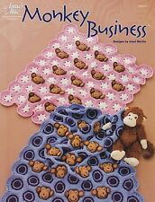 Monkey Business, Annie's Baby Afghan Crochet Pattern Booklet 885097 RARE HTF OOP