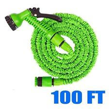 100 FT Feet Green Latex Deluxe Expanding Flexible Garden Water Hose+Spray Nozzle