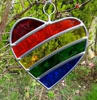 Stained Glass Rainbow Heart all year romantic garden tree ornaments/sun catchers