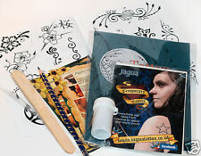 Large Black Jagua Henna Temporary Tattoo Pro Kit, designs and transfer kit ti
